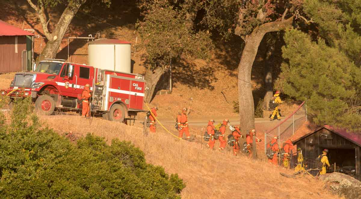 firefighters Kincade Fire Sonoma County California October 2019