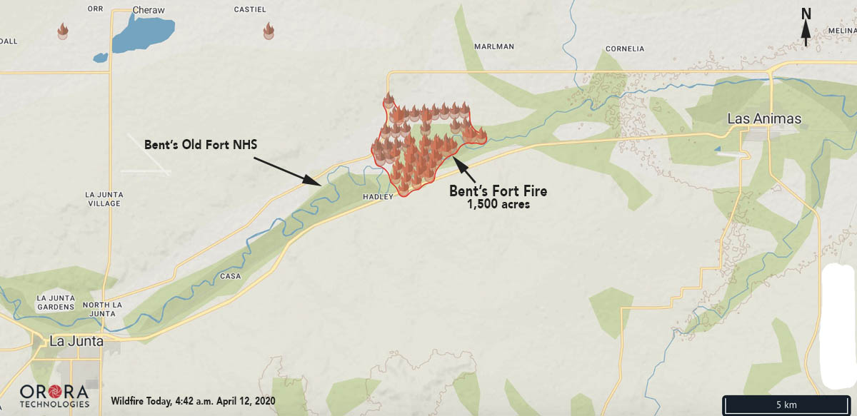 Bents Fort Fire wildfire Map April 12-2020