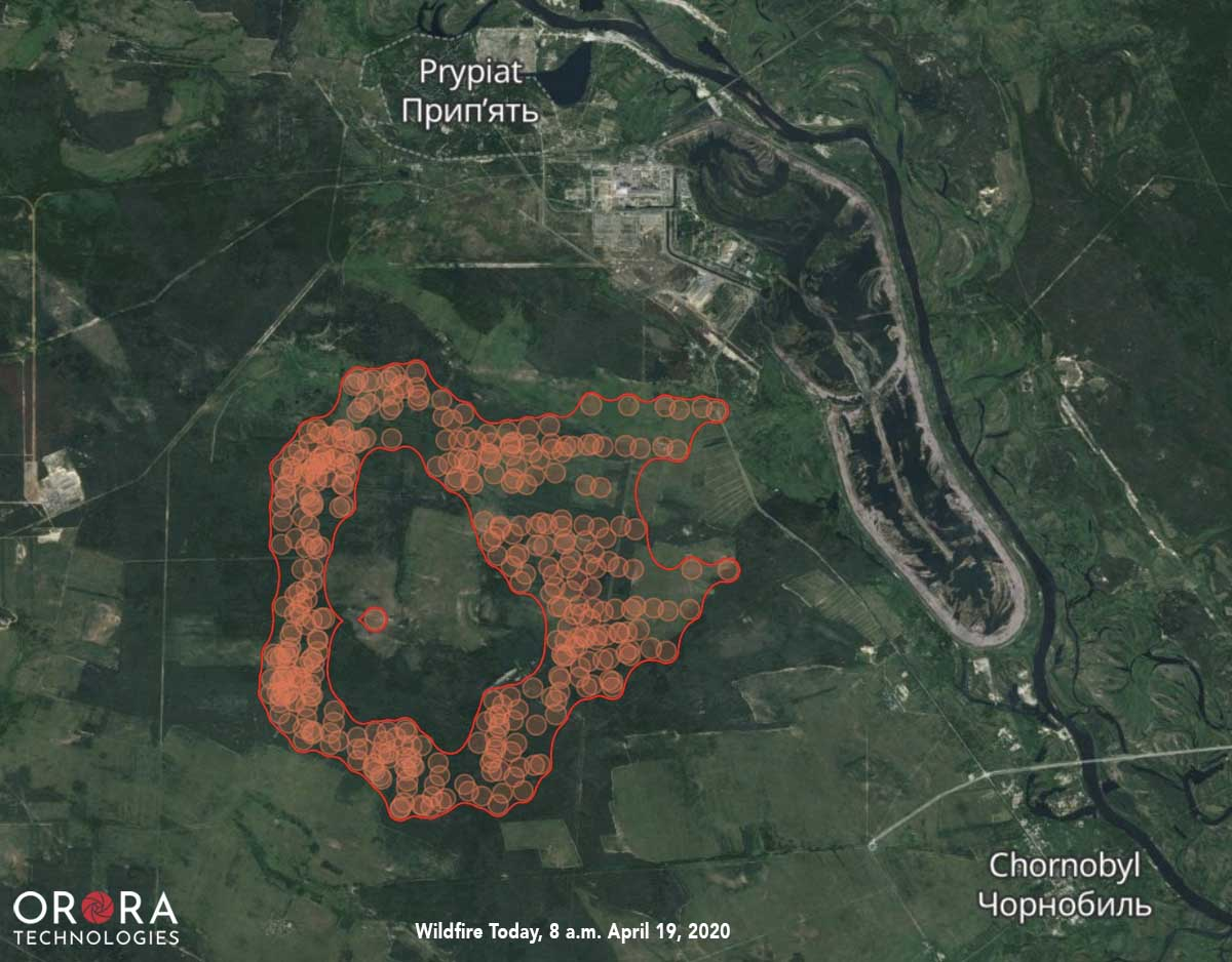 Chernobyl Fire Map 8 am EDT 4-9-2020