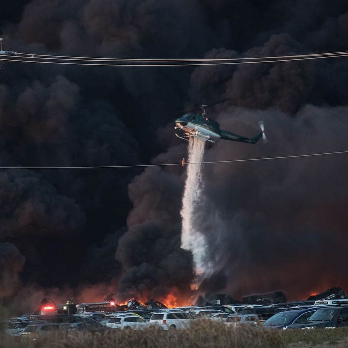 helicopter rental cars burn fire Fort Myers Airport