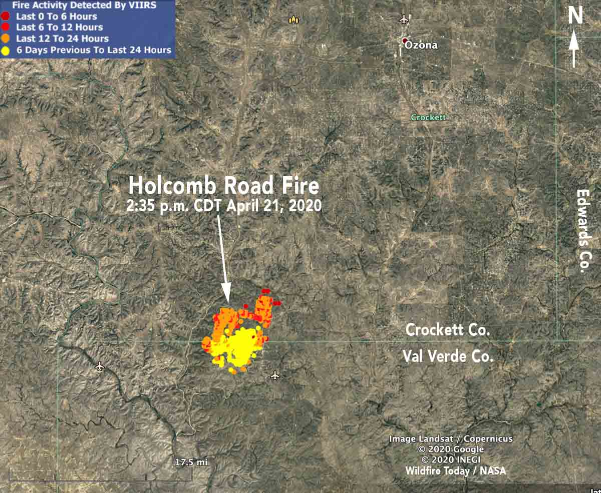 Map location Holcomb Road Fire Texas