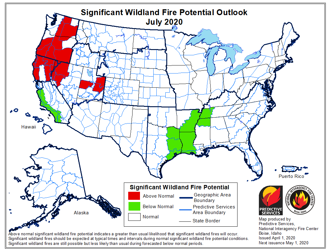 Wildfire potential weather April