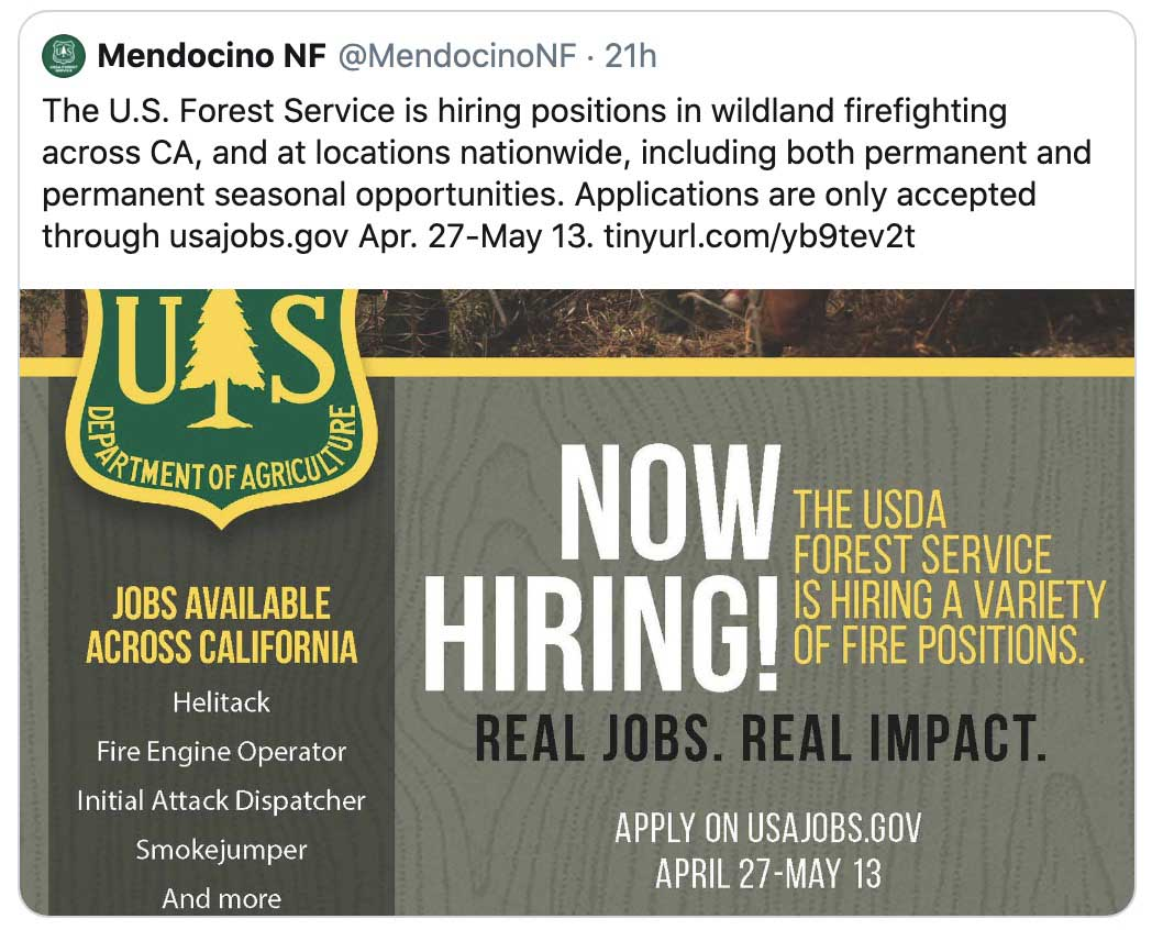 Mendocino National Forest jobs
