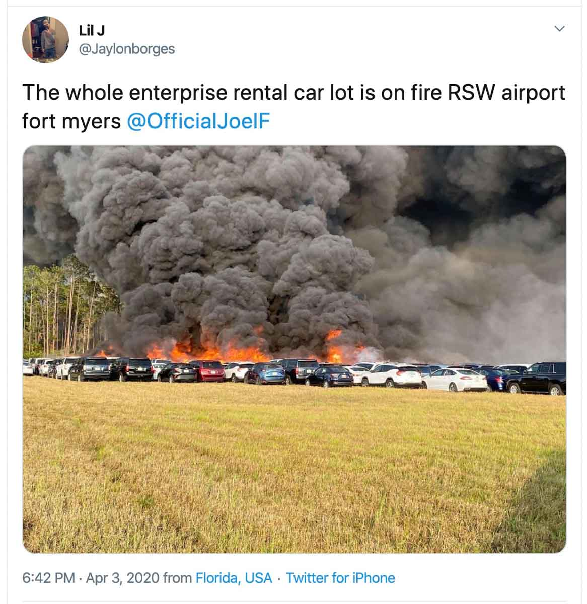 rental cars burn fire Fort Myers Airport