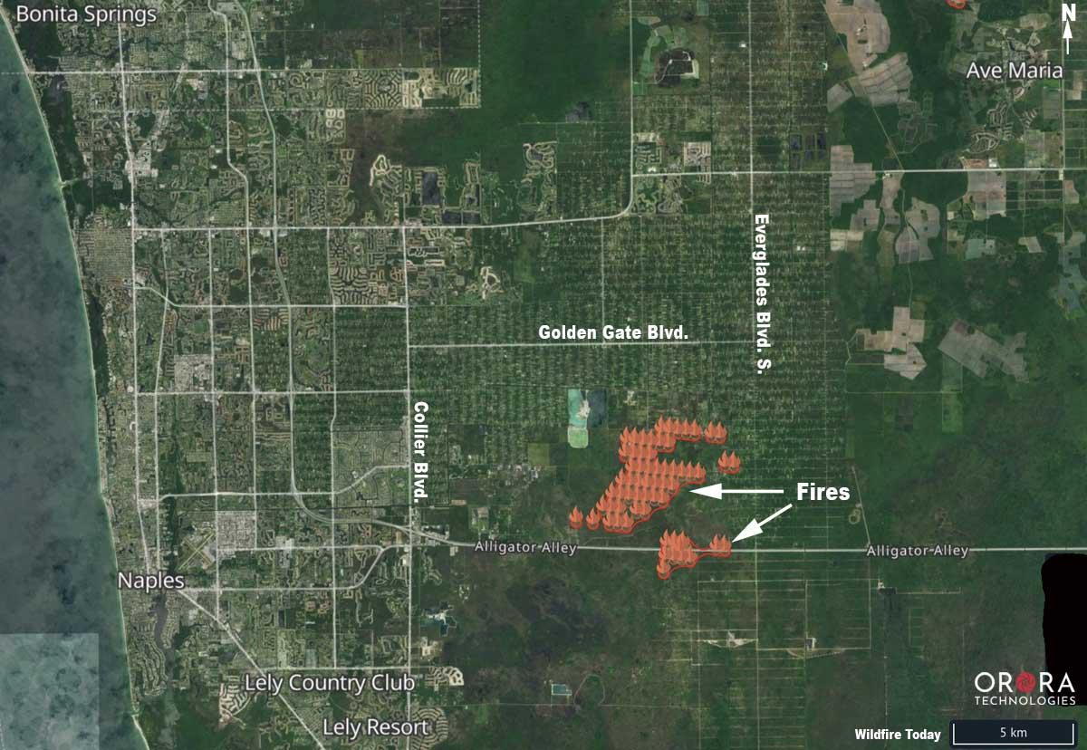 map wildfires Naples Florida
