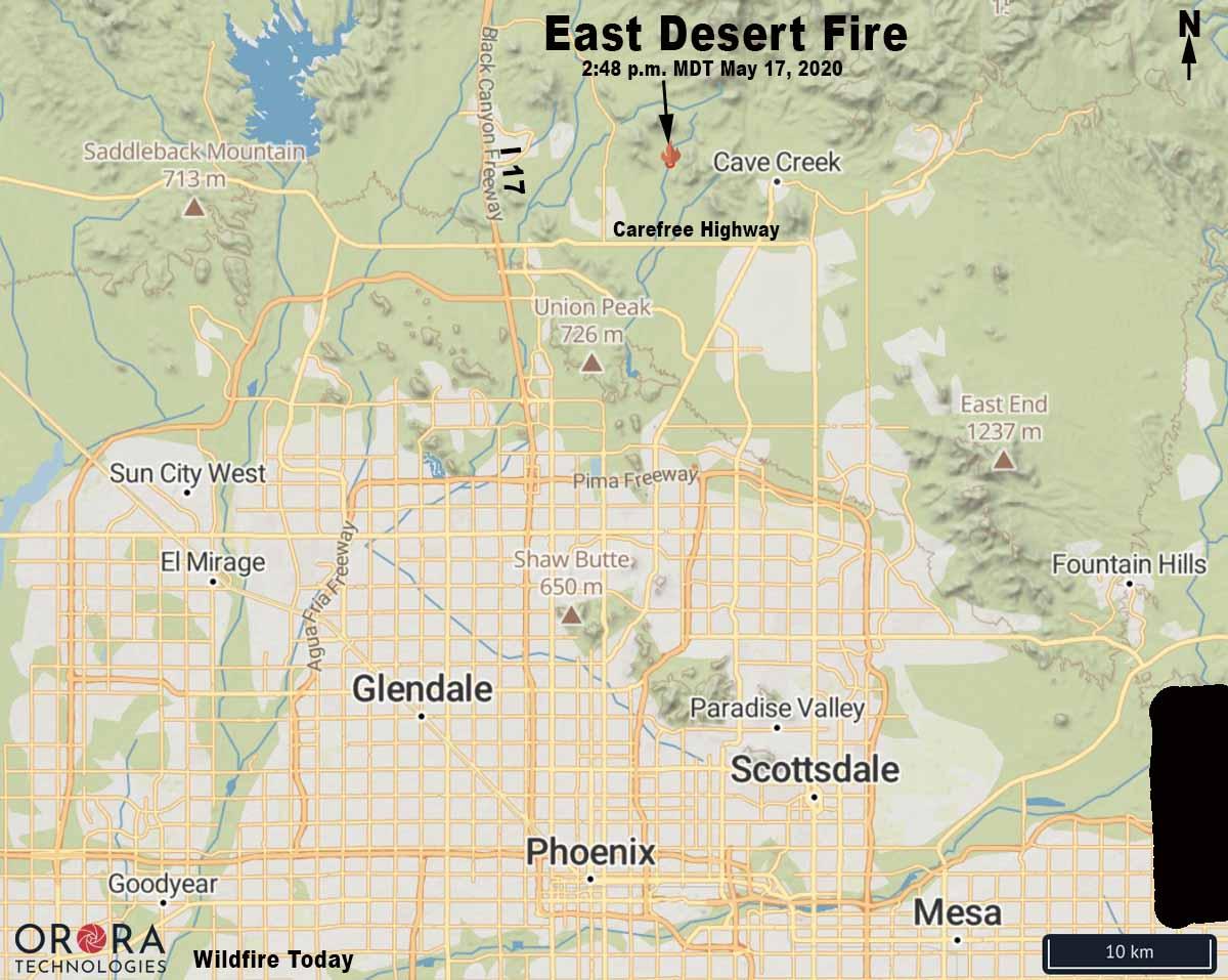 map East Desert Fire north of Phoenix