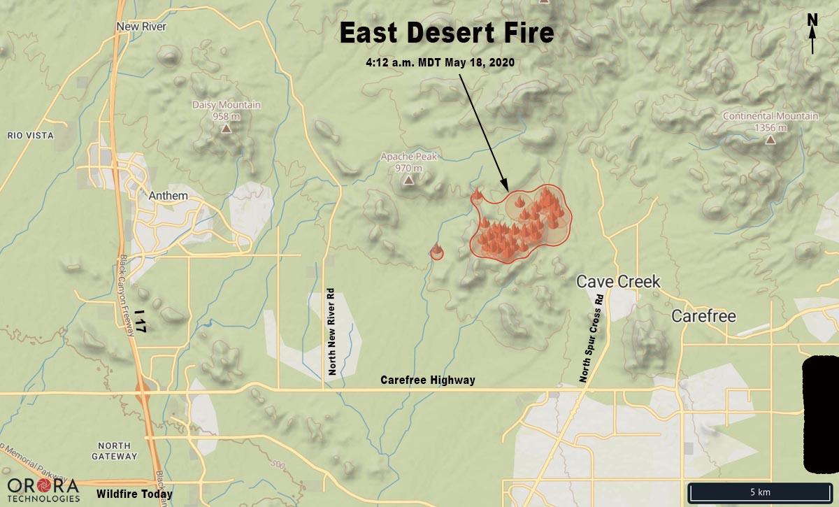map East Desert Fire firefighters wildfire Arizona Phoenix