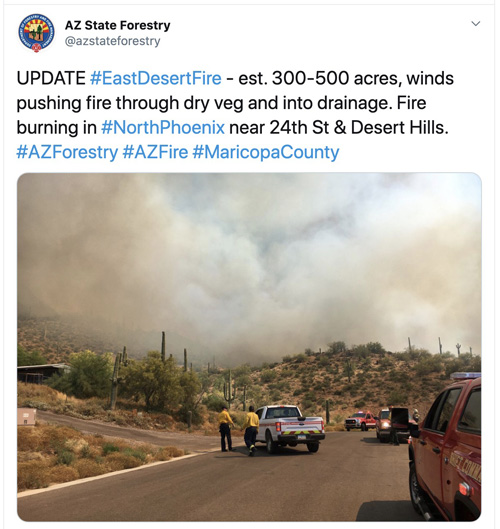 East Desert Fire north of Phoenix