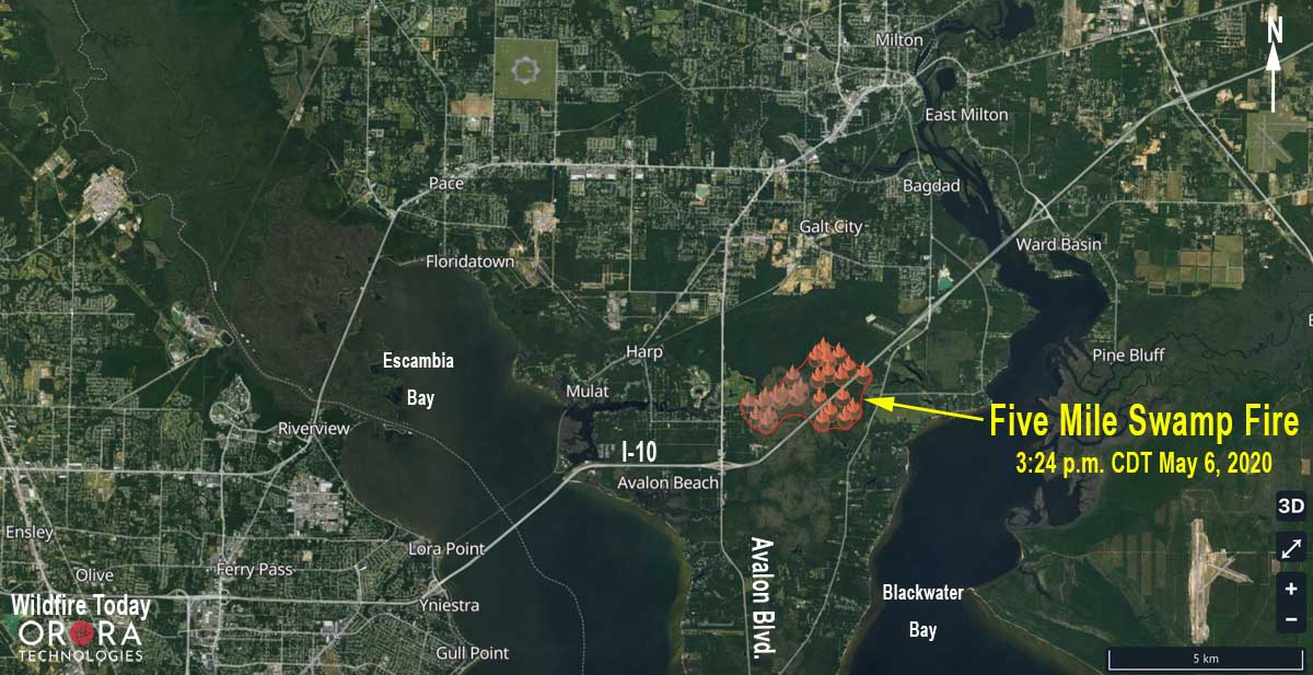 map Five Mile Fire Milton Florida Interstate 10
