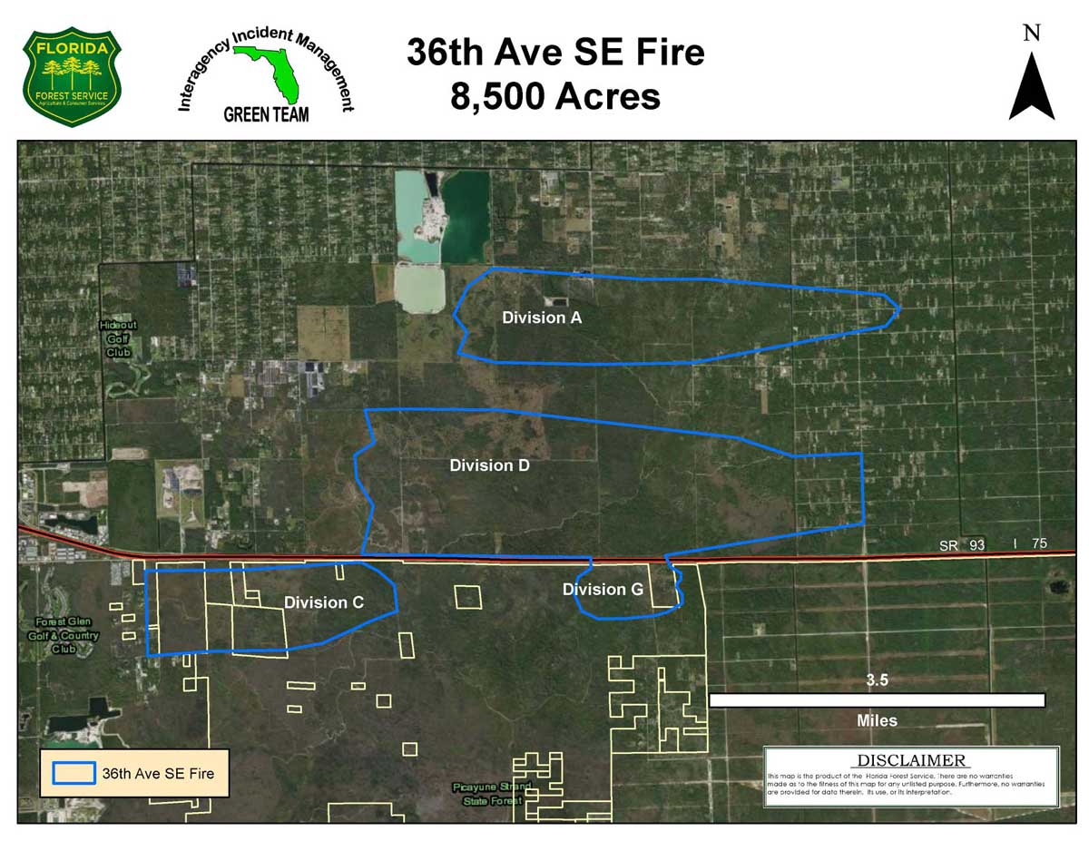Map for the 36th Ave. SE Fire wildfire Naples Florida
