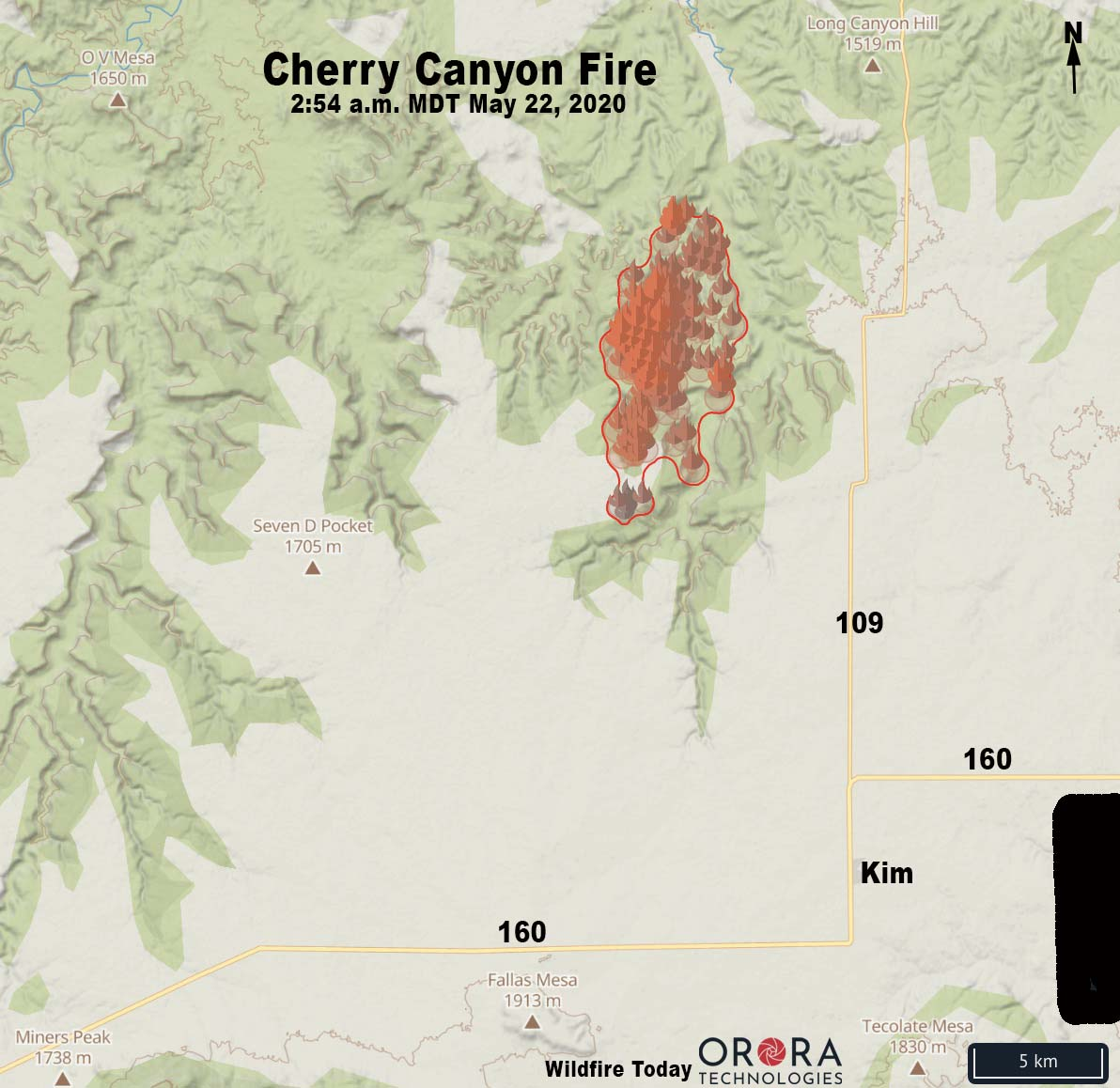 Map of the Cherry Canyon Fire