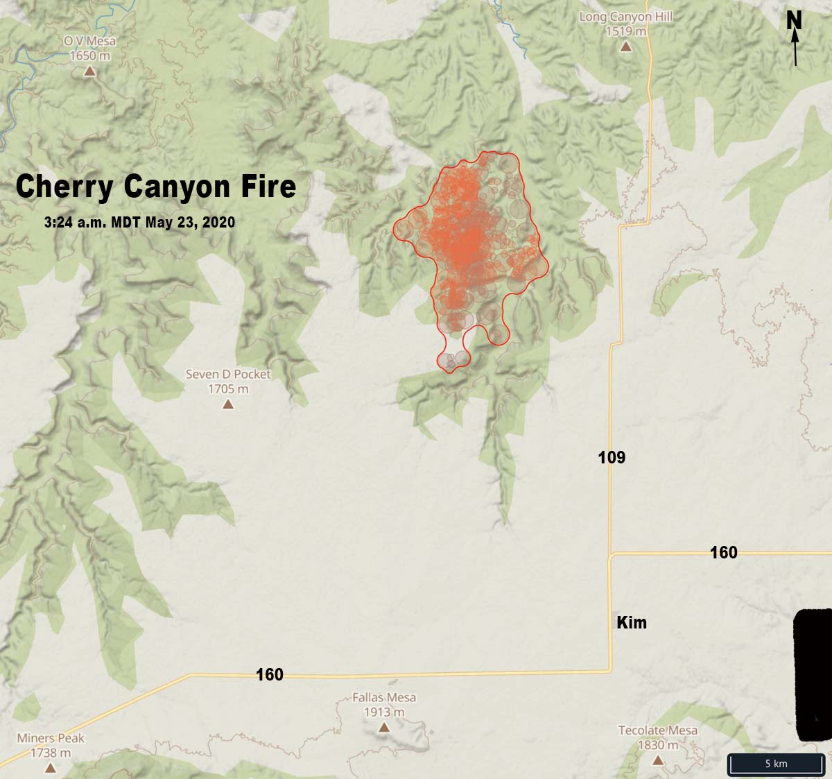 Cherry Canyon Fire wildfire Colorado map