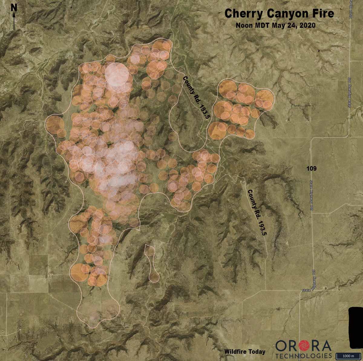 Cherry Canyon Fire Colorado map