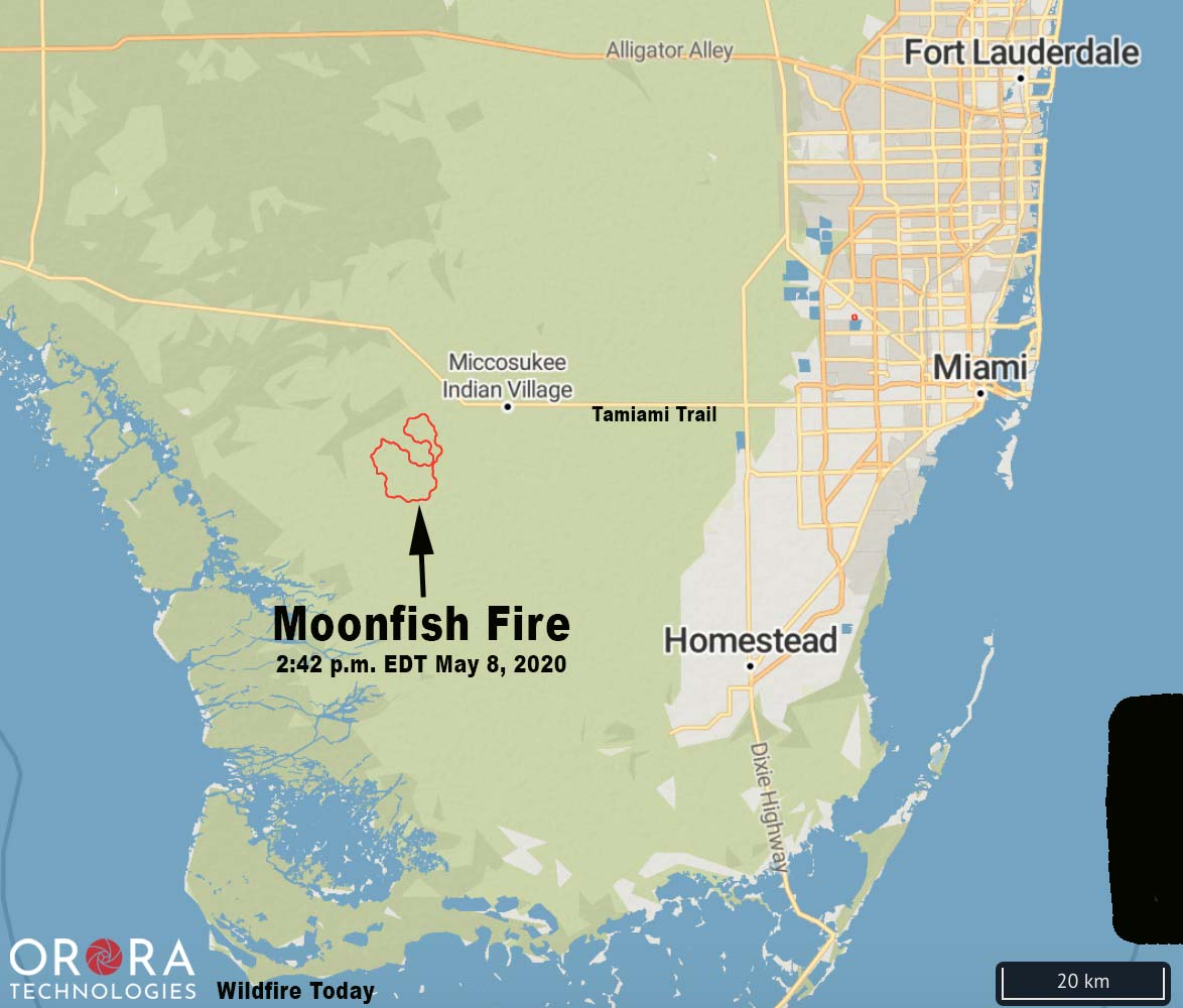 Map Moonfish Fire Big Cypress National Preserve