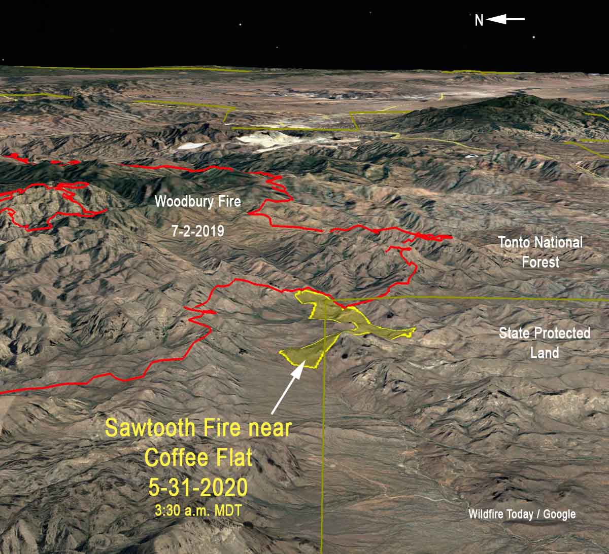 3-d map Sawtooth Fire