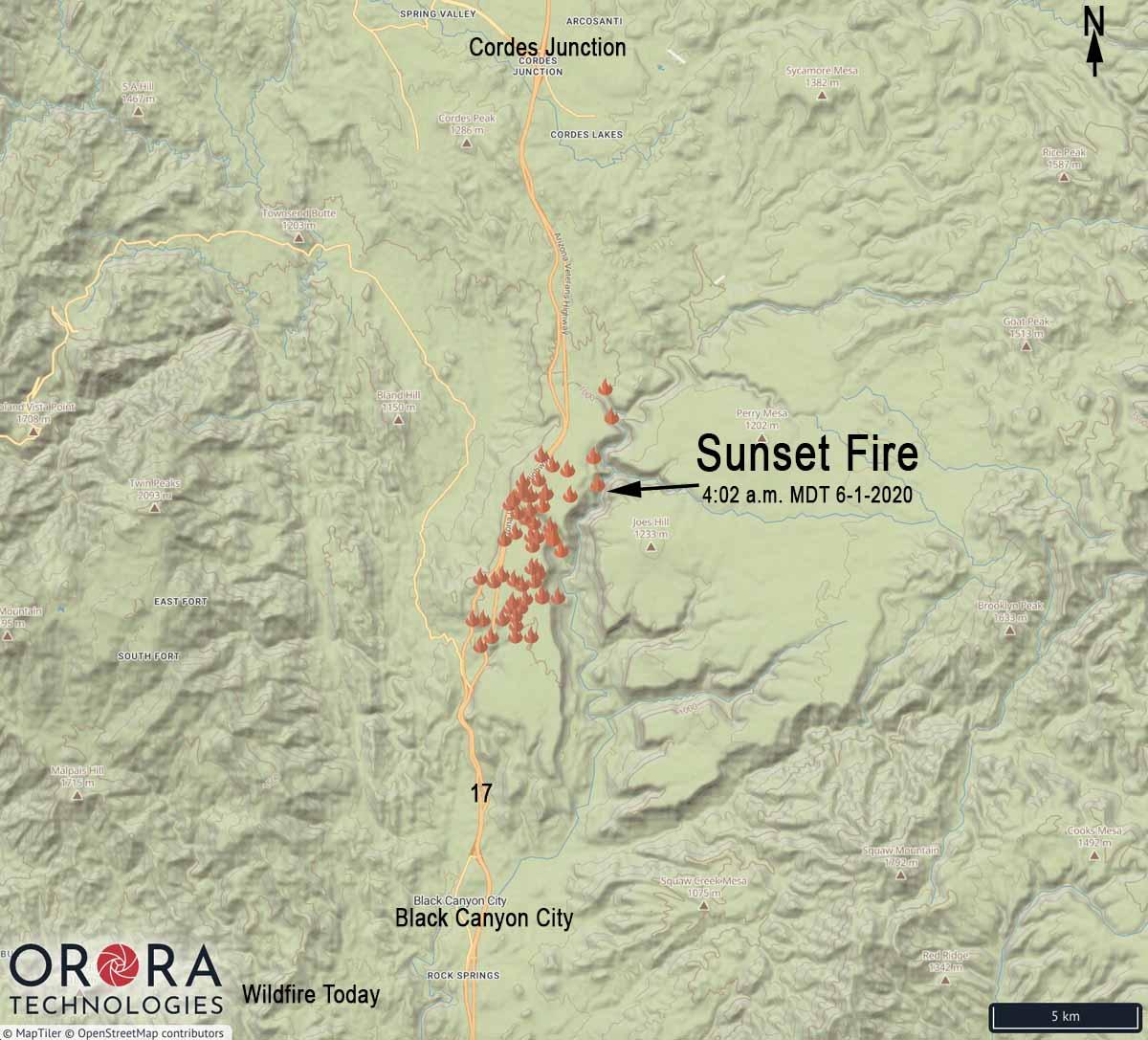 Map Sunset Fire Phoenix interstate 17 Arizona