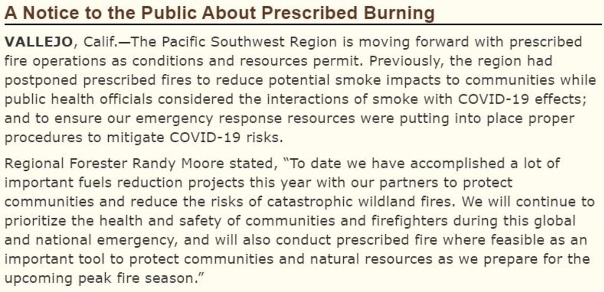 Forest Service prescribed fire announcement
