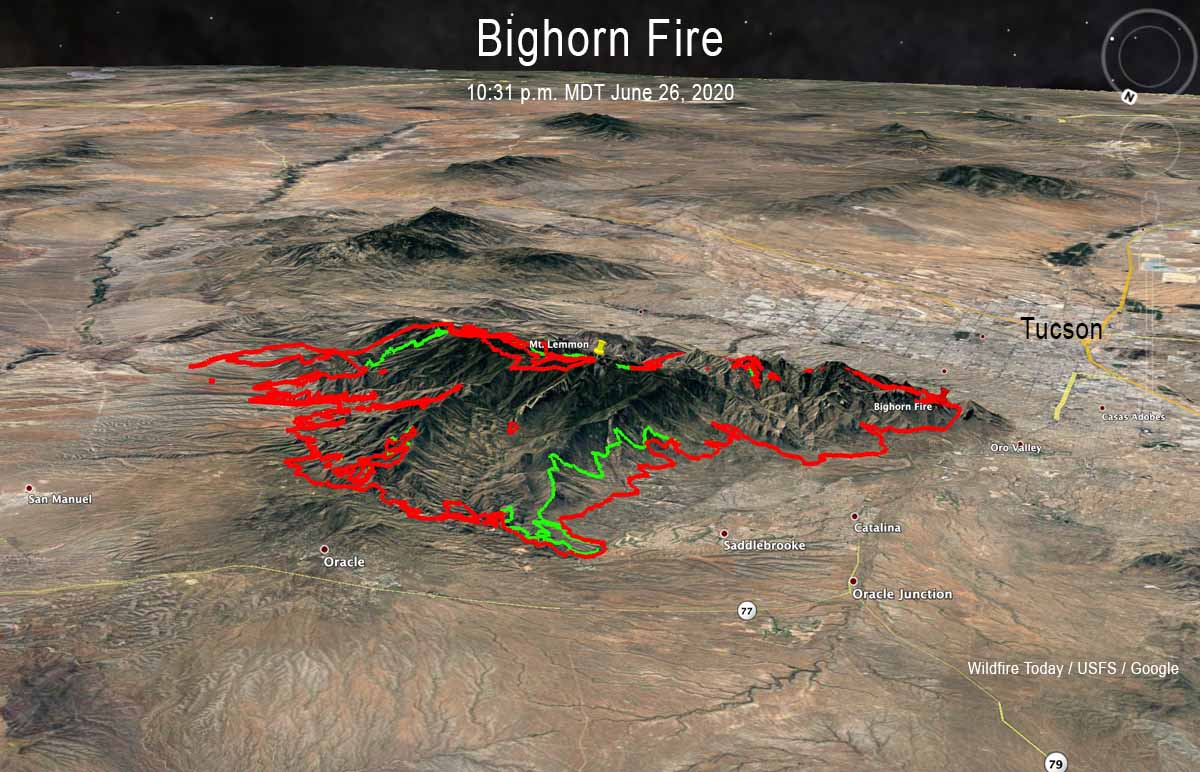map Bighorn Fire Tucson Mt Lemmon