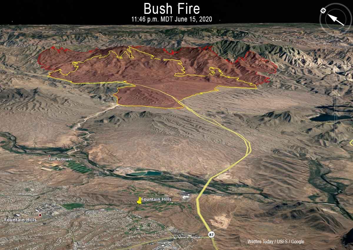 Bush Fire map Phoenix Arizona 3-D