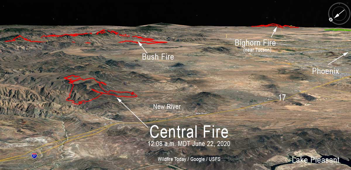 Central Fire Bush Bighorn Arizona wildfire map