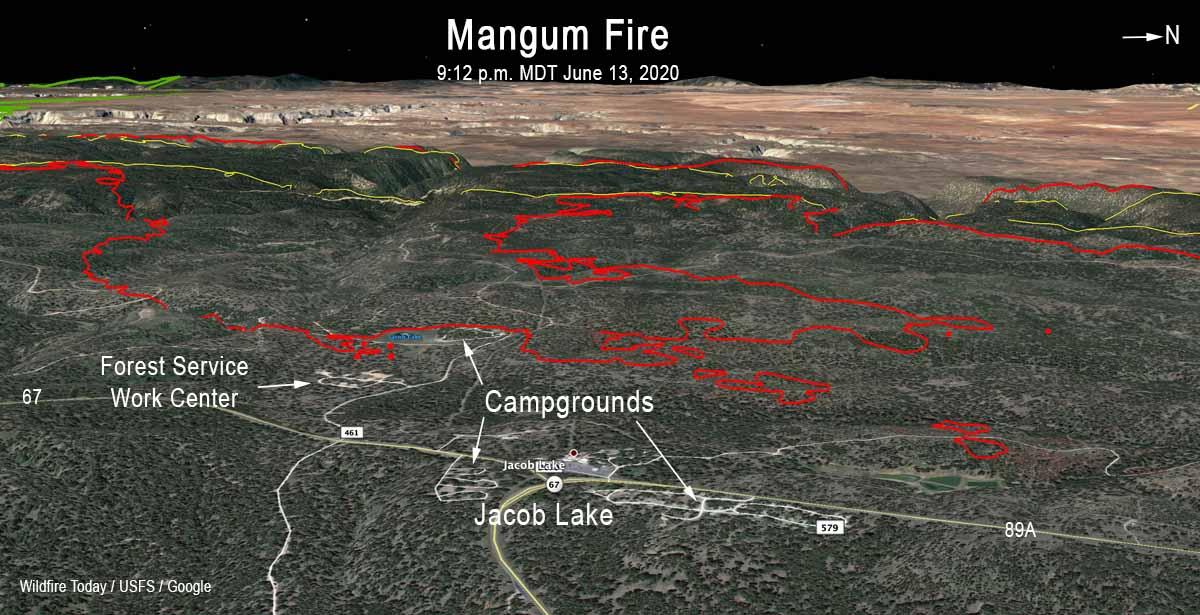 3-D Mangum Fire map Jacob Lake Arizona