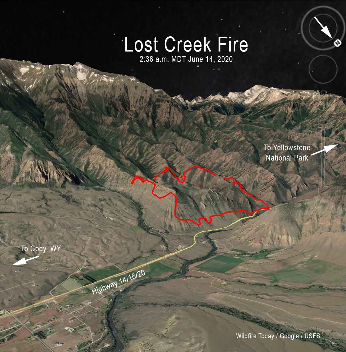 3-D map of the Lost Creek Fire