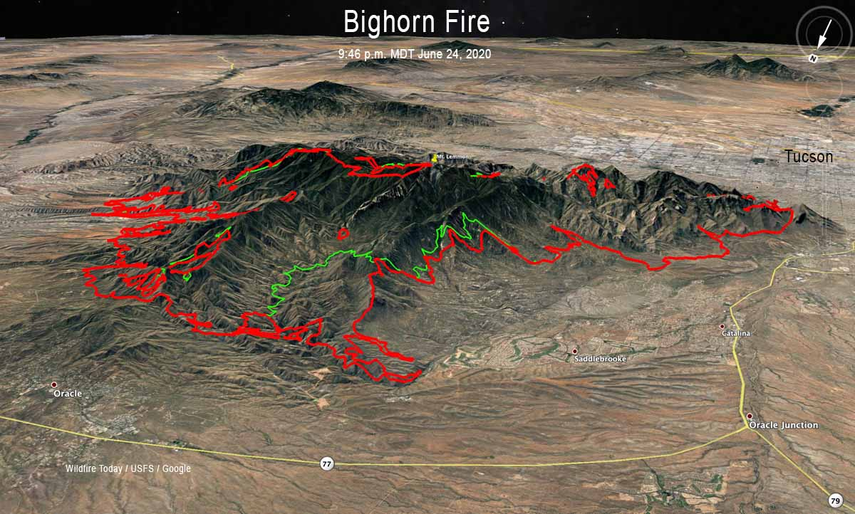 Bighorn Fire map Arizona Tucson