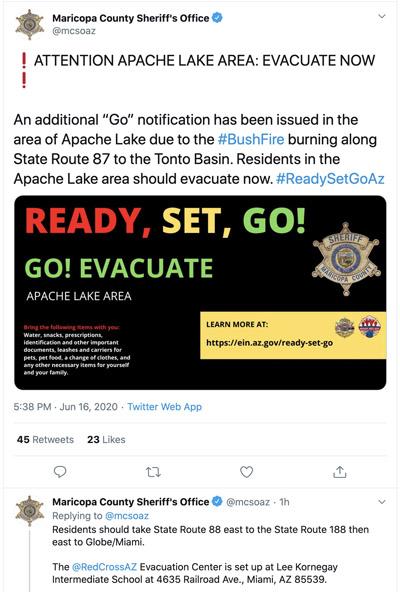 Apache Lake evacuation Bush Fire