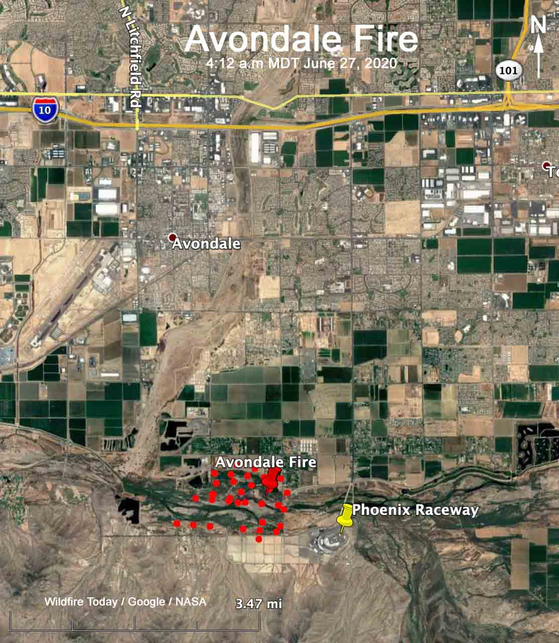 Avondale Fire Arizona Phoenix map