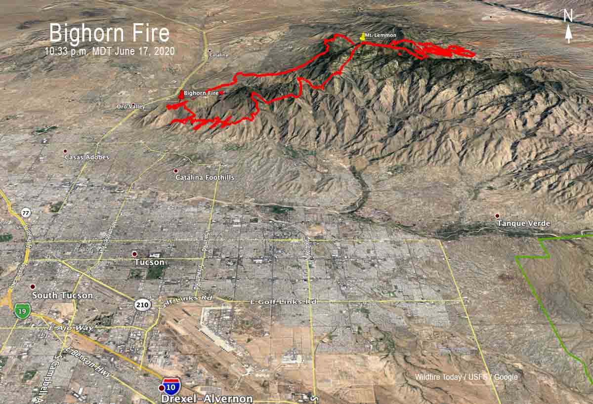 map Bighorn Fire Arizona Tucson
