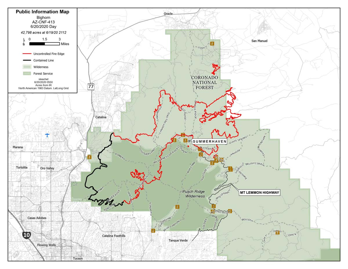 Map of the Bighorn Fire