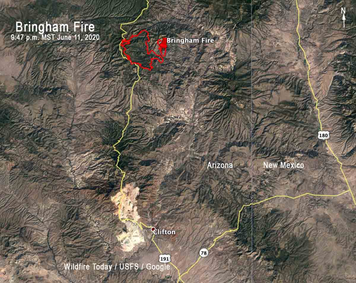 Bringham Fire Arizona Clifton Alpine map
