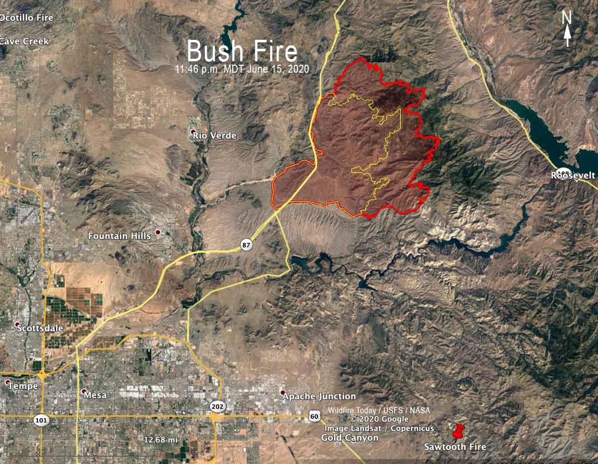 Bush Fire map Phoenix Arizona