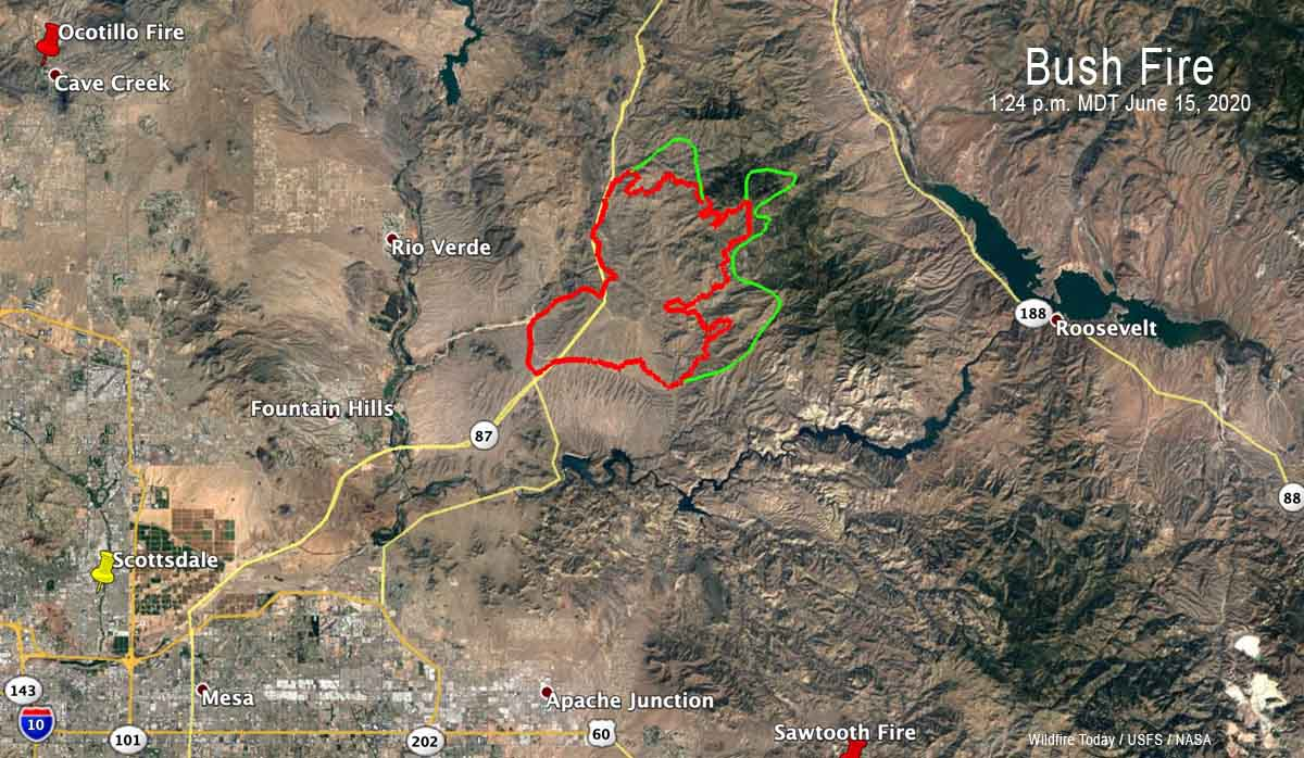 Map of the Bush Fire northeast of Phoenix