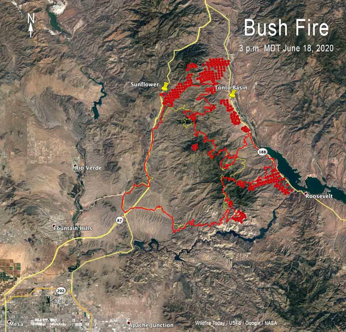 Bush Fire map 3 pm MDT June 18, 2020 wildfire Arizona Phoenix