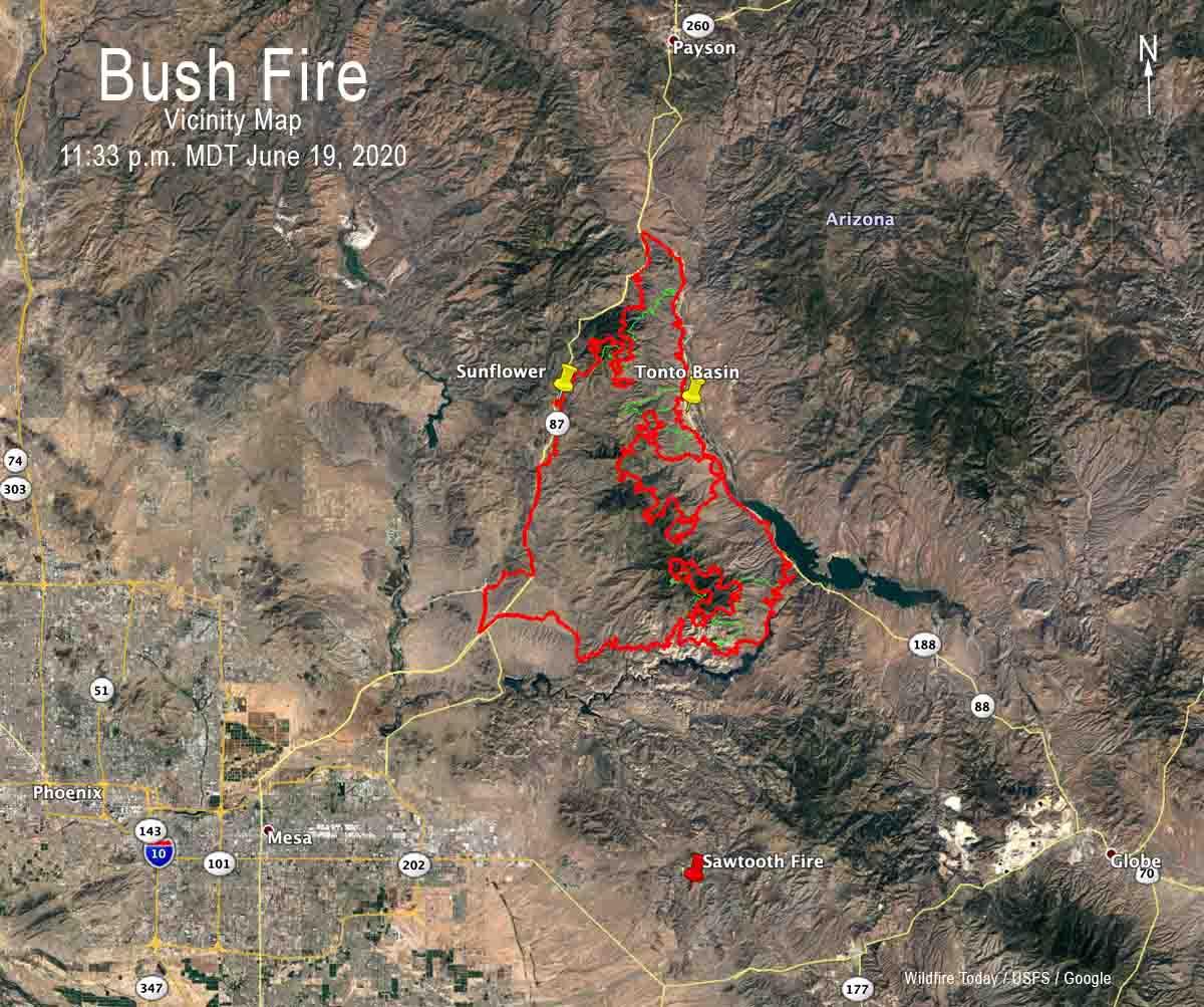 map Bush Fire Arizona Phoenix wildfire