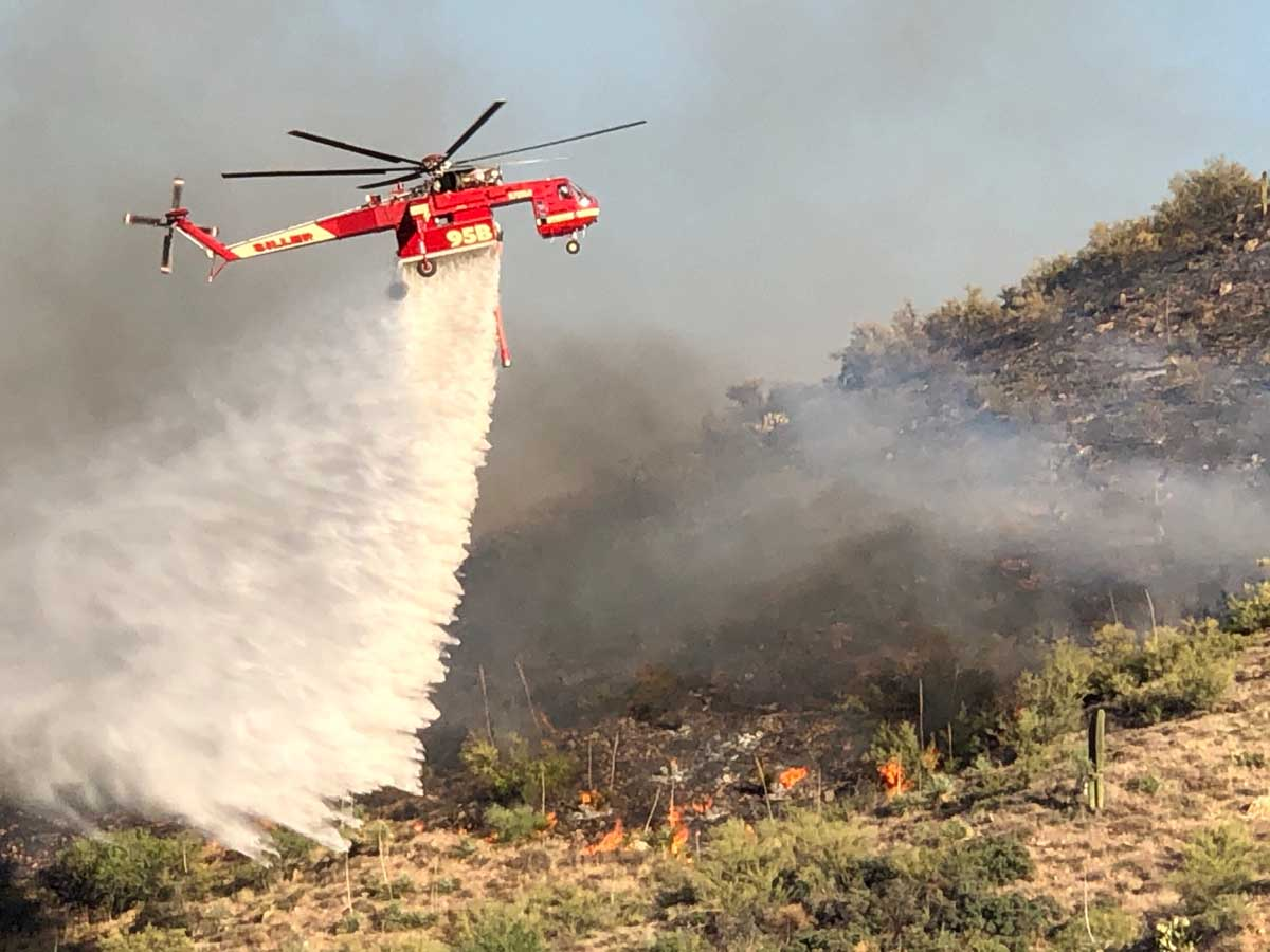 Helicopter drop Bush Fire wildfire Arizona
