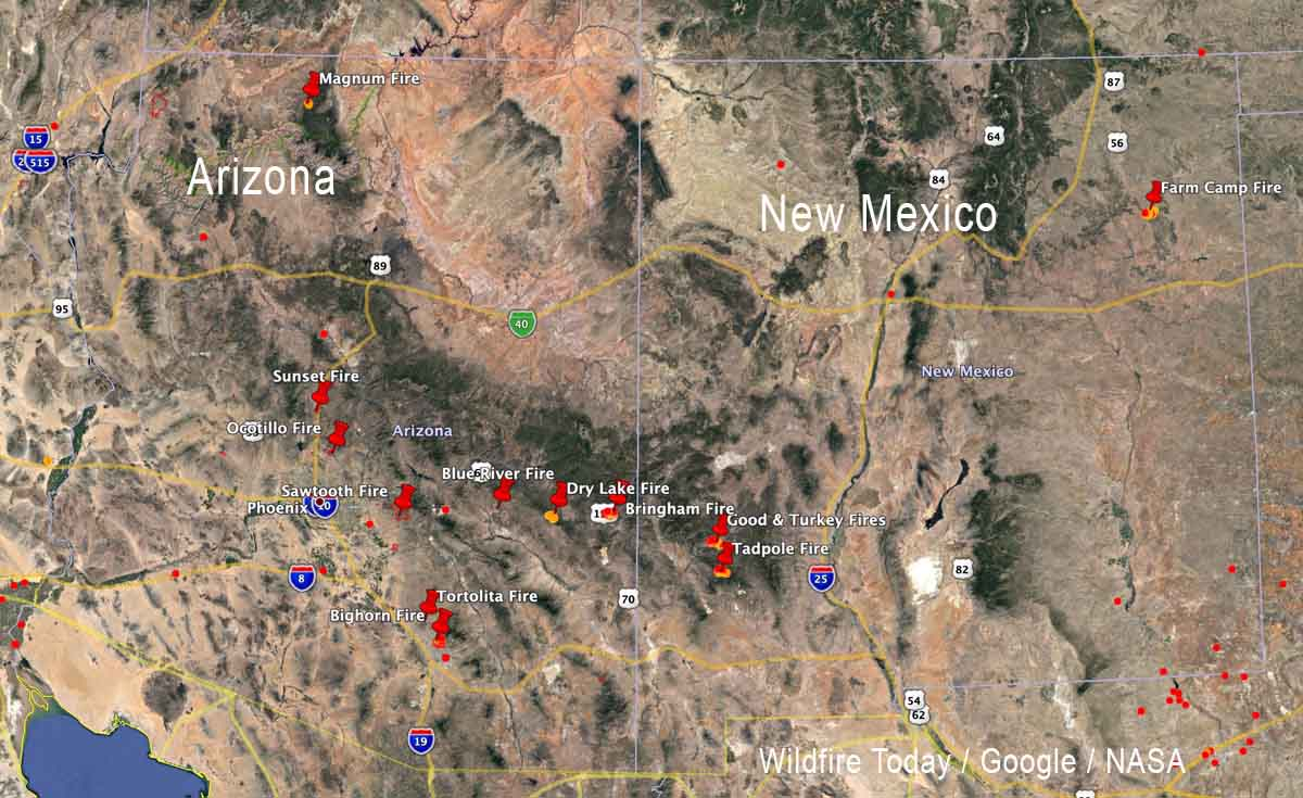 Large fires Arizona and New Mexico wildfires