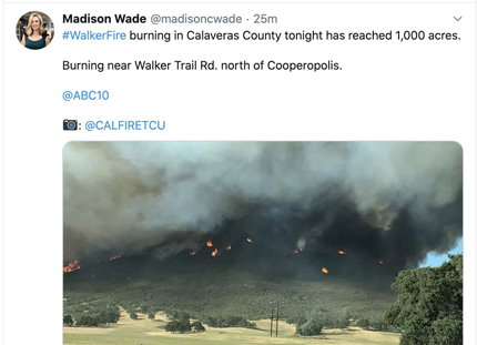 Walker Fire in Calaveras County, CA
