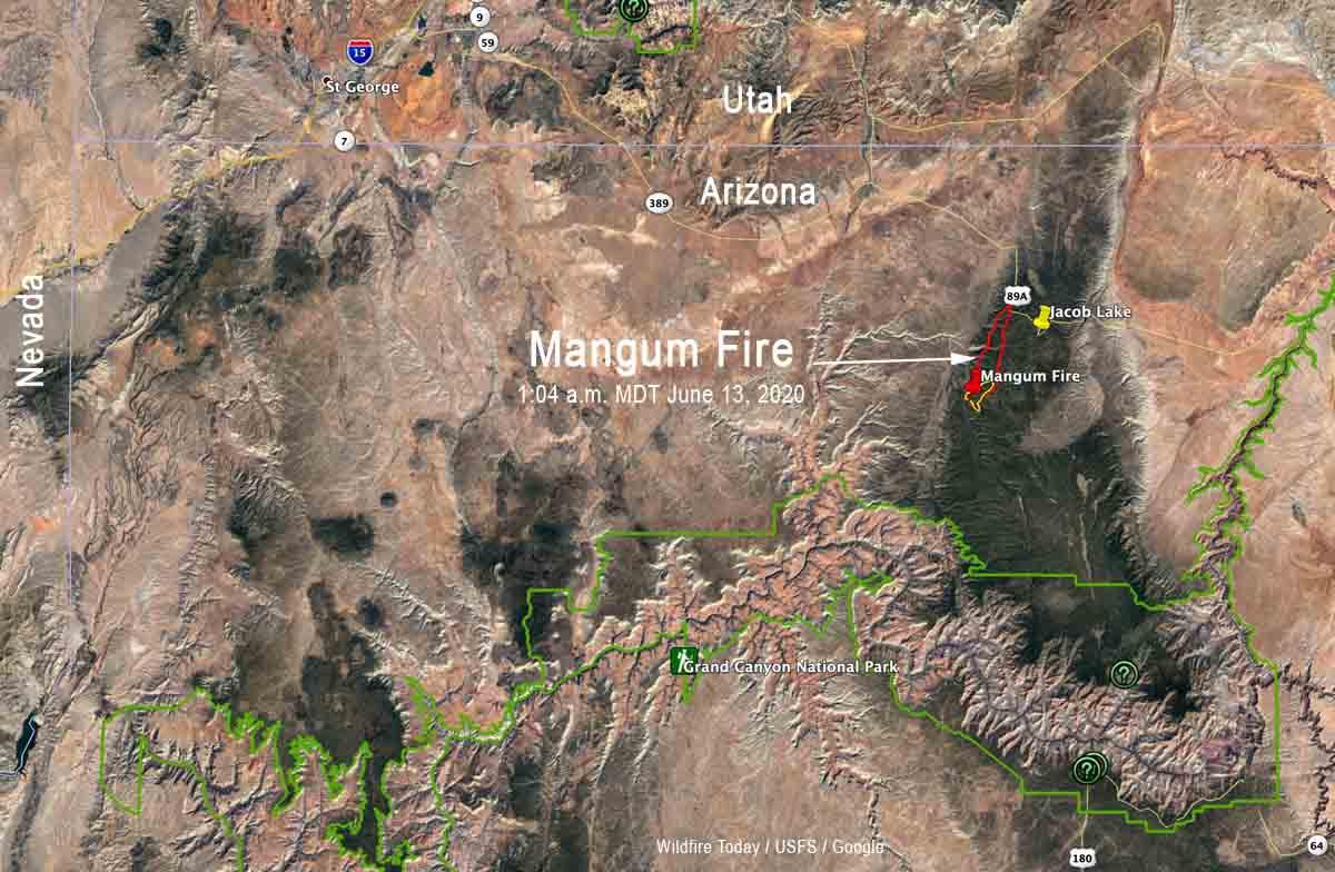 Mangum Fire Arizona map