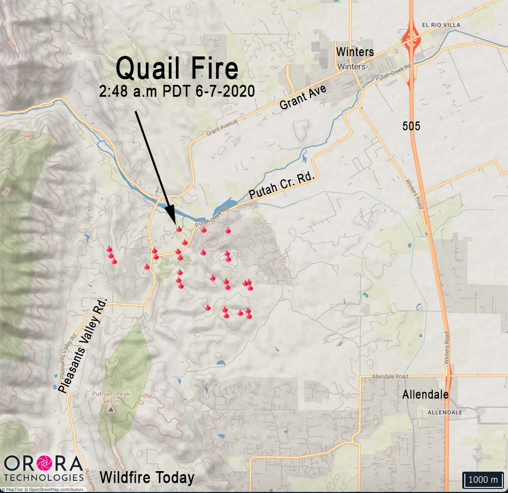 Map Quail Fire 248 am PDT 6-7-2020