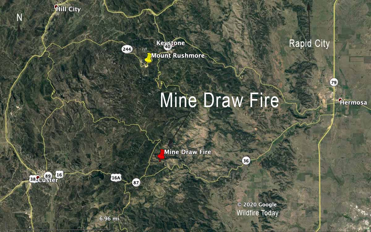 Mine Draw Fire map