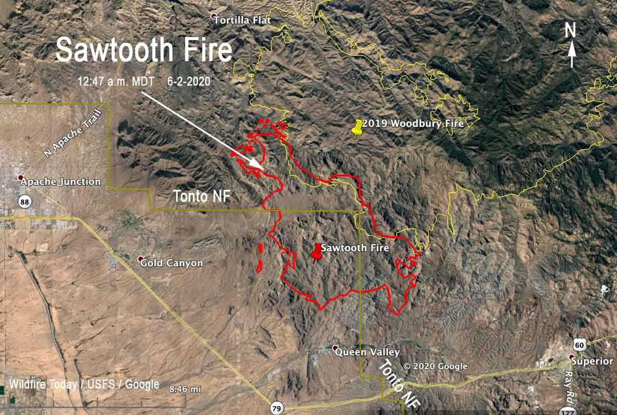 Map Sawtooth Fire June 2, 2020