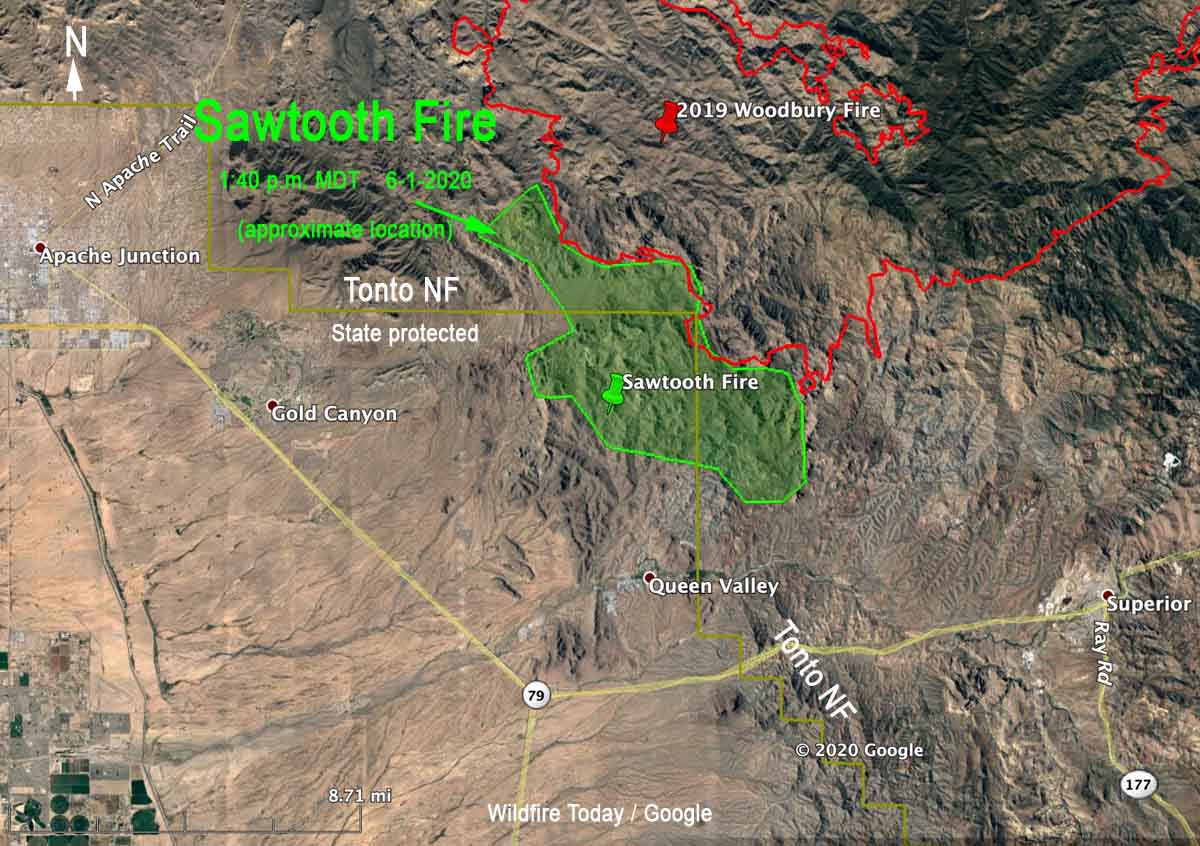 perimeter of the Sawtooth Fire map Arizona Phoenix
