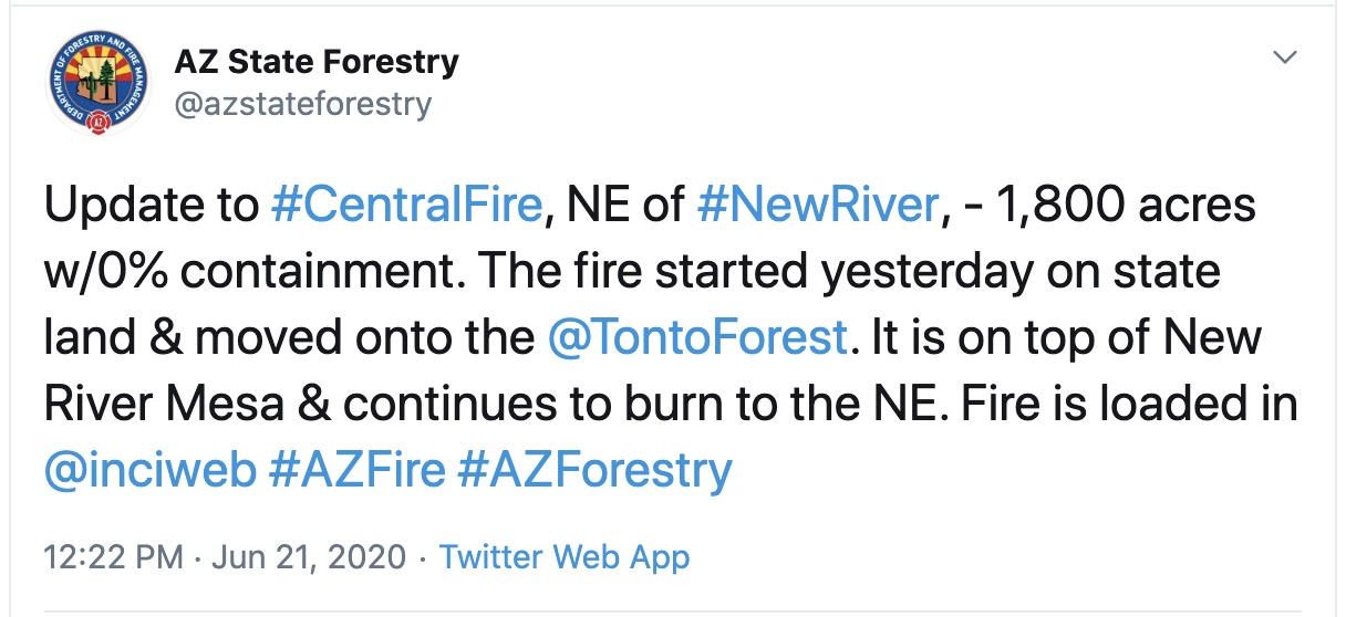Central Fire information Arizona