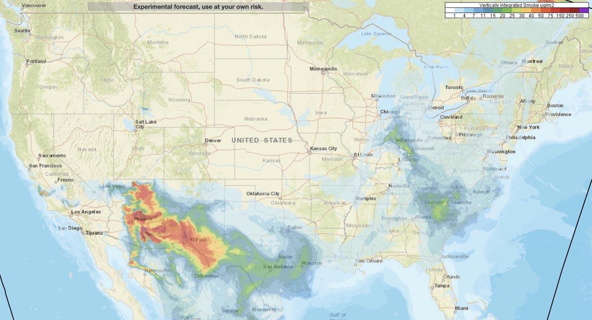 Forecast wildfires smoke