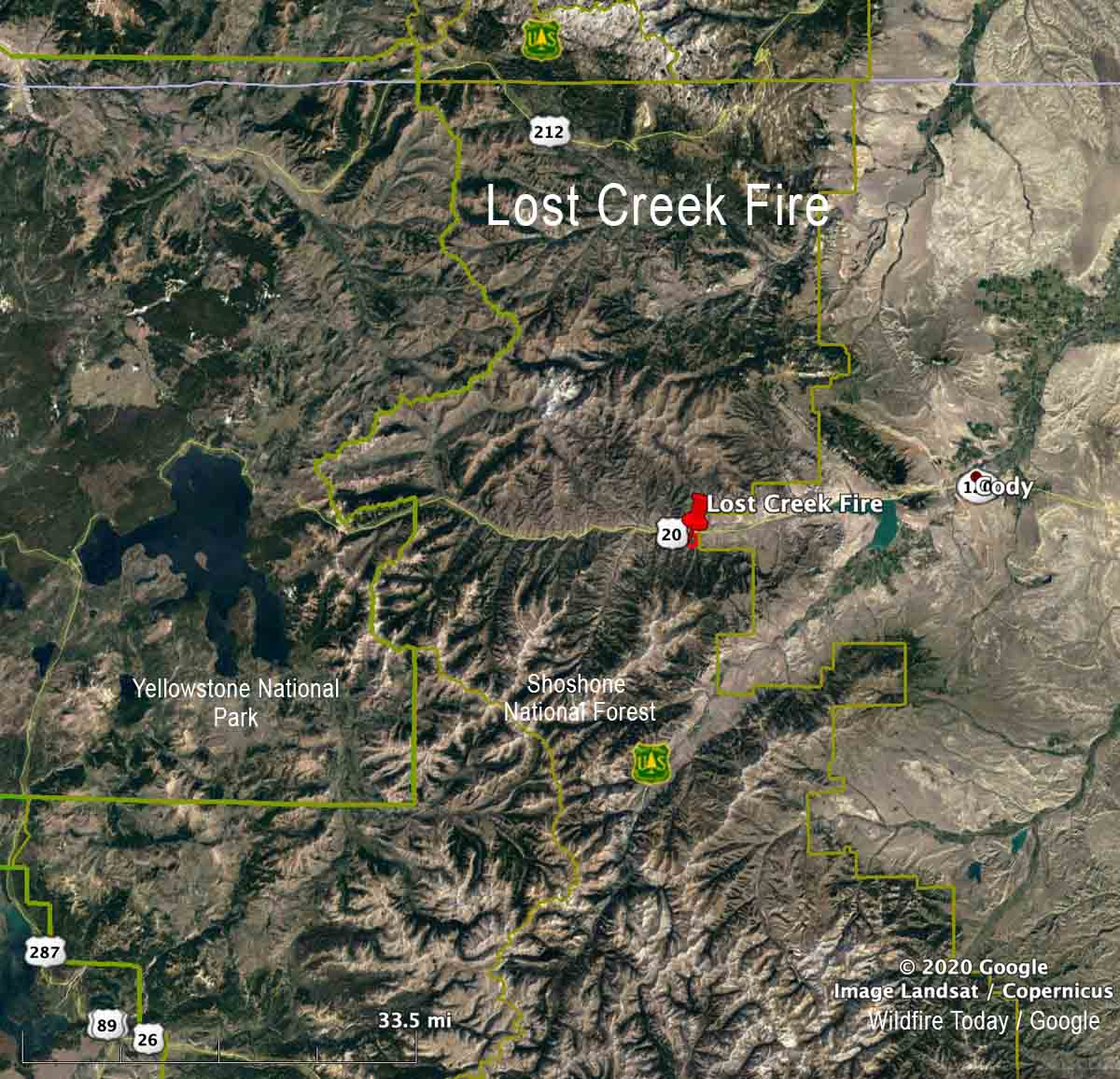 Vicinity map of the Lost Creek Fire