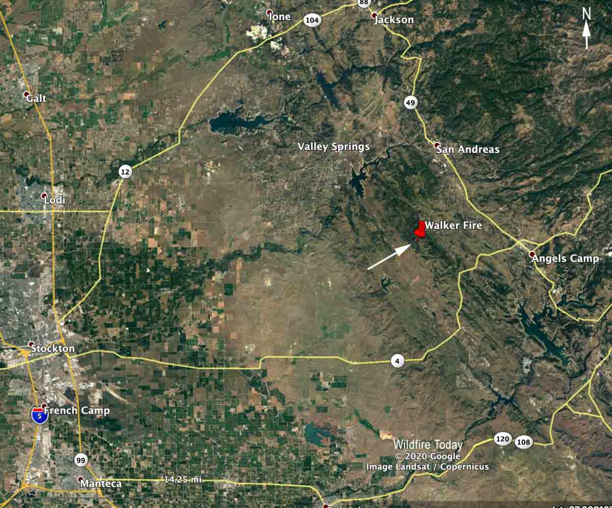 Walker Fire in Calaveras County, CA map