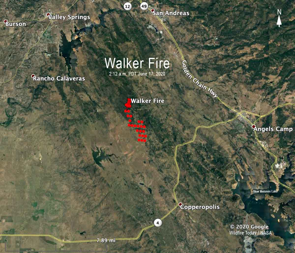 Walker Fire map California