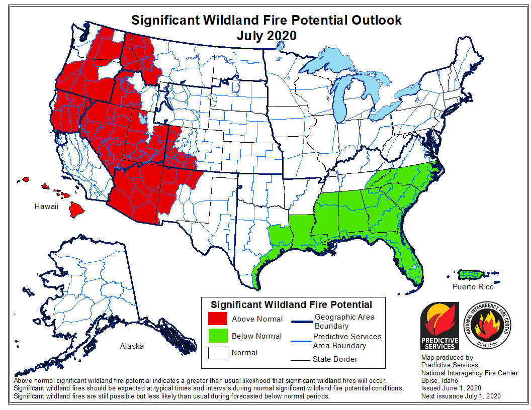 potential wildfires fires weather forecast prediction